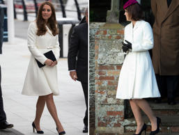 Kate, Duchess of Cambridge and Princess Eugenie of York wear the same dress designed by Max Mara.