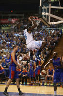 Ekene Ibekwe of the Breakers dunks the ball during game two of the NBL Finals series between the New Zealand Breakers and the Adelaide 36ers.