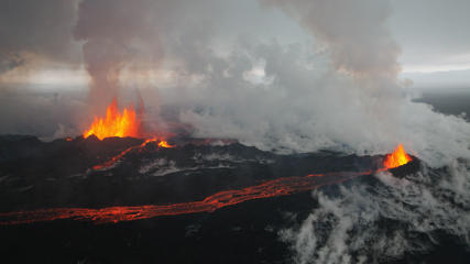 Aerial image of Holuhraun eruption, on Bárðarbunga volcano system, spews ash and lava fountains reaching up to 100 meters high in what is viewed as Bárðarbunga's most powerful crater, September 4, 2014.
