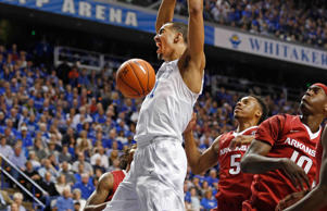Kentucky Wildcats forward Trey Lyles (41) dunks the ball against the Arkansas Razorbacks in the first half at Rupp Arena.