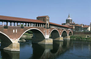 Covered bridge over the Ticino river in Pavia, Italy.