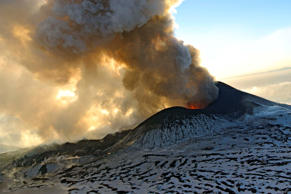 In this photo taken on Sunday, Jan. 6, 2013, Plosky Tolbachnik volcano erupts in Russia's Far Eastern Kamchatka Peninsula.