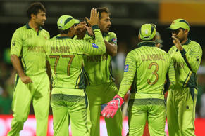 Wahab Riaz of Pakistan celebrates after taking the wicket of Brendan Taylor of Zimbabwe during the 2015 ICC Cricket World Cup match between Pakistan and Zimbabwe at The Gabba on March 1, 2015 in Brisbane, Australia.