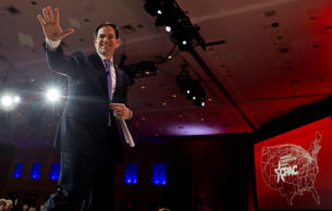 Sen. Marco Rubio, R-Fla. waves as he walks from the stage after speaking during the Conservative Political Action Conference (CPAC) in National Harbor, Md., Friday, Feb. 27, 2015.