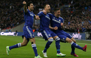 Chelsea celebrate Capital One Cup success