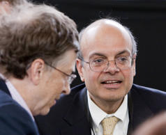 Ajit Jain, right, head of the Berkshire Hathaway Reinsurance Group, at the annual Berkshire Hathaway shareholders meeting in Omaha, Neb.