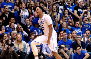 Jahlil Okafor of the Duke Blue Devils reacts during a win against the North Carolina Tar Heels on Feb. 18, 2015, at Cameron Indoor Stadium in Durham, N.C.
