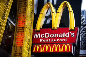 A sign for a McDonald's restaurant is seen in Times Square on June 9, 2014 in New York City.