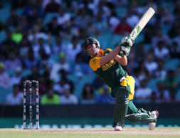 File: South Africa's AB De Villiers hits the ball to the boundary during their Cricket World Cup Pool B match against the West Indies in Sydney, Australia, Friday, Feb. 27, 2015.