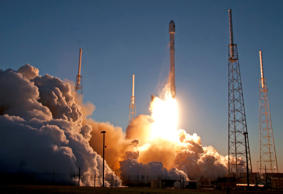 An unmanned Falcon 9 SpaceX rocket lifts off from launch complex 40 at the Cape Canaveral Air Force Station, Feb. 11, 2015, in Cape Canaveral, Fla.
