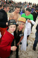 Lady Gaga poses with at fan at the Chicago Polar Plunge 2015 at North Avenue Beach on March 1, 2015 in Chicago, Illinois.