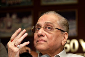 File: In this Monday, June 3, 2013 file photo, Jagmohan Dalmiya gestures during a press conference in Kolkata, India. Former International Cricket Council (ICC) chief Dalmiya has returned as president of the Board of Control for Cricket in India (BCCI).