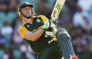 AB de Villiers of South Africa bats during the 2015 ICC Cricket World Cup match between South Africa and the West Indies at Sydney Cricket Ground.