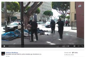 Screenshot of a video posted on Facebook of a deadly LAPD shooting that is under investigation. @anthony.blackburn.376 via Facebook, http://aka.ms/lvy3e3