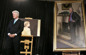 Former president Bill Clinton with his official portrait in Washington in 2006.