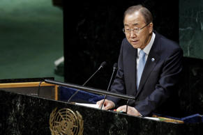 Secretary-General of the United Nations Ban Ki-moon speaks during Special High-level United Nations General Assembly meeting on promoting tolerance and countering violent extremism, in New York City on April 21, 2015.