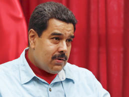 Venezuela's President Nicolas Maduro speaks during a meeting with Executive Secr...