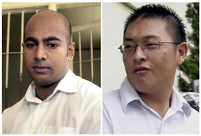 This combination of two file photos from Jan. 24, 2006, left, and Jan. 26, 2006 shows Australian drug traffickers Myuran Sukumaran, left, and Andrew Chan during their trial in Bali, Indonesia.