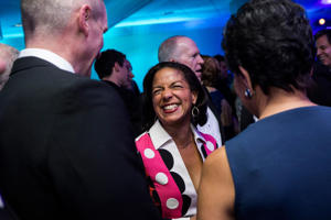 Susan Rice, national security advisor, center, reacts as she attends the Bloomberg cocktail party before the White House Correspondents' Association Dinner in Washington, D.C.