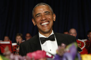 President Barack Obama attends the White House Correspondents' Association Dinner in Washington, D.C., on April 25, 2015.