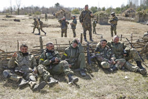 "Members of the Ukrainian Defence Ministry's assault battalion ""Aydar"" have a rest during a military drill near Zhytomyr April 9, 2015."