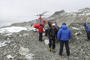 people are examined for injuries and prepared for helicopter evacuation at the International Mount Guide (IMG) camp at Everest Base Camp, Nepal