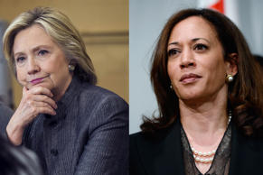 From left. former Secretary of State Hillary Clinton and California Attorney General Kamala Harris. Lucas Jackson/Reuters, Kevork Djansezian/Getty Images