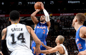 Chris Paul of the Los Angeles Clippers shoots against the San Antonio Spurs during Game Four of their NBA Playoffs matchup on April 26, 2015, in San Antonio.