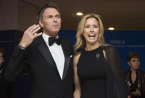 Tea Leoni and Tim Daly arrive at the White House Correspondents' Association (WHCA) annual dinner in Washington, DC, on April 25, 2015.