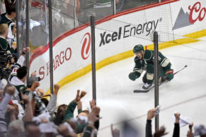 Zach Parise of the Minnesota Wild celebrates scoring a goal against the St. Louis Blues during the third period in Game Six of the Western Conference Quarterfinals during the 2015 NHL Stanley Cup Playoffs on April 26 at Xcel Energy Center in St Paul, Minn. The Wild defeated the Blues 4-1 and took the series 4-2.
