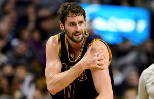Cleveland Cavaliers forward Kevin Love suffers a dislocated shoulder in game four of the playoff series against the Boston Celtics April 26. The Cavaliers won 101-93 to eliminate the Celtics.
