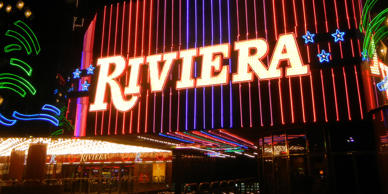This Feb. 16, 2015 photo shows the Riviera Hotel and Casino on the Las Vegas Strip. Owners of the hotel which opened in 1955 have agreed to sell the property to the Las Vegas Convention and Visitors Authority. Kimberly Pierceall/AP