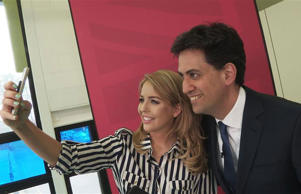 TOWIE's Lydia Bright interviews - and selfies with - Ed Miliband