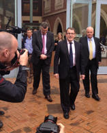 File Photo: John Banks after being handed a community-based sentence for falsely declaring two $25,000 donations from Kim Dotcom anonymous after his failed 2010 Auckland mayoral bid.