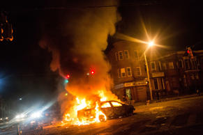 Riots engulf Baltimore after suspect's funeral