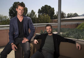 "Cast members Chris Hemsworth (L) and Chris Evans pose for a portrait while promoting ""Avengers: Age of Ultron"" in Burbank, California April 11, 2015."