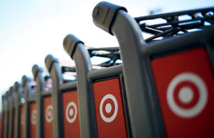 Shopping carts are seen at a Target store in Chicago.