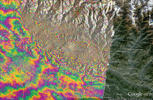 Satellite radar image of the ground changes due to the magnitude-7.8 Nepal earthquake on April 25.