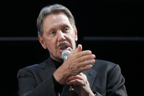 Billionaire Larry Ellison, executive chairman and chief technology officer of Oracle Corp., delivers a keynote speech at the New Economy Summit 2015 in Tokyo, Japan, on Wednesday, April 8, 2015. The conference, organized by the Japan Association of New Economy, concludes today. Photographer: Kiyoshi Ota/Bloomberg *** Local Caption *** Larry Ellison