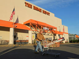 Electrical contractor Tommy Hendrick leaves a Home Depot store in Matthews, N.C. Home Depot is among the 123 companies that disclosed repurchases in February.
