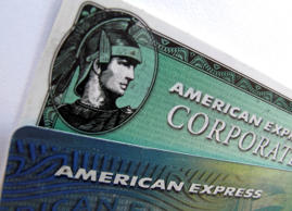 American Express and American Express corporate cards are pictured in Encinitas. Mike Blake/Reuters
