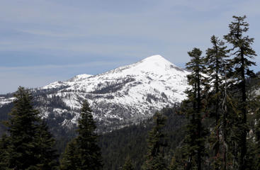 Snowy peaks of the Sierra Nevada near Echo Summit, California, May 1, 2014.