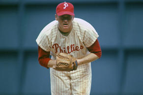 Philadelphia Phillies pitcher Jim Bunning stares in at the batter during a circa 1964 game at Connie Mack Stadium in Philadelphia.