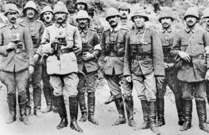 Turkish colonel Mustafa Kemal (fourth from left) with officers and staff on the Gallipoli Peninsula in 1915.