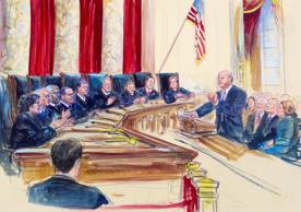 This courtroom artist rendering shows Michael Carvin, lead attorney for the petitioners,, right, speaking before the Supreme Court in Washington, Wednesday, March 4, 2015, a the court heard arguments in King v. Burwell, a major test of President Barack Obama's health overhaul which, if successful, could halt health care premium subsidies in all the states where the federal government runs the insurance marketplaces. Seated, left, from left are, Justice Sonia Sotomayor, Stephen Breyer, Clarence Thomas, Antonin Scalia, Chief Justice John Roberts, Anthony Kennedy, Ruth Bader Ginsburg, Samuel Alito, and Elena Kagan.