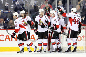 Ottawa Senators celebrate their victory over the Winnipeg Jets after the third period at MTS Centre. Ottawa Senators win 3-1.