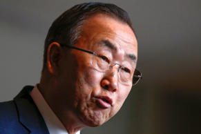File: United Nations Secretary-General Ban Ki-moon talks to the media after a briefing on Syria at U.N. headquarters in New York March 14, 2014.