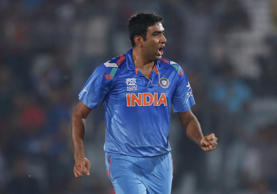 India's bowler Ravichandran Ashwin celebrates the dismissal of South Africa's batsman Hashim Amla during their ICC Twenty20 Cricket World Cup semifinal match in Dhaka, Bangladesh, Friday, April 4, 2014.