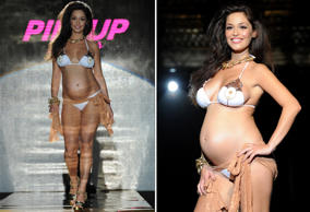 Pregnant model Raffaella Fico walks the runway at the Pin-Up Star Spring/Summer 2013 fashion show as part of Milan Womenswear Fashion Week on September 22, 2012 in Milan, Italy.