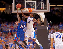 College Basketball: NCAA Final Four: Kentucky Michael Kidd-Gilchrist (14) in action, defense vs Kansas Tyshawn Taylor (10) at Mercedes-Benz Superdome.
